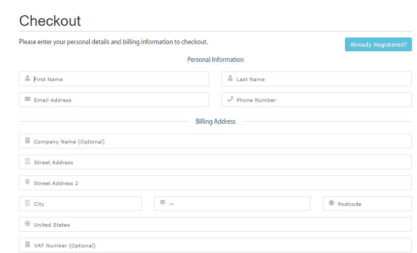 a2 hosting checkout form