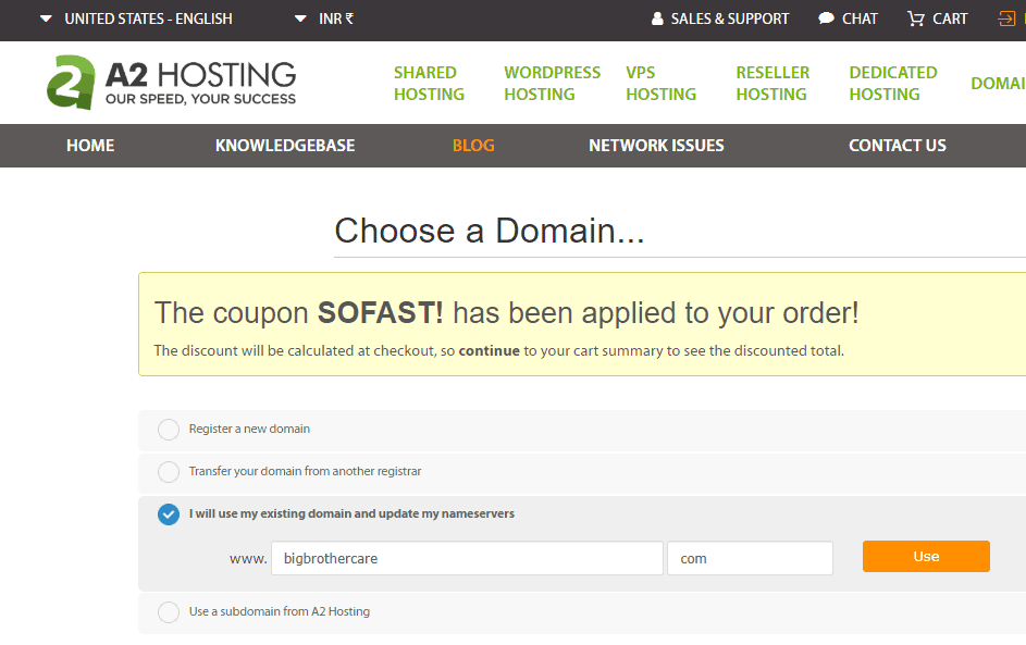 how to book hosting from a2hosting guide
