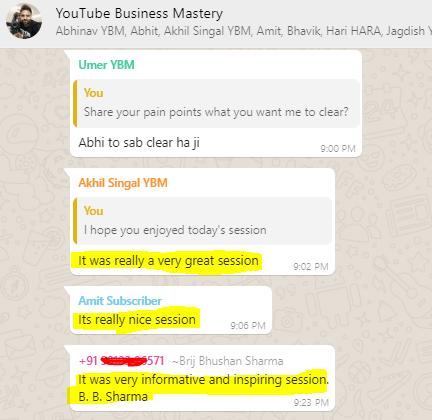 Youtube Business mastery testimonials