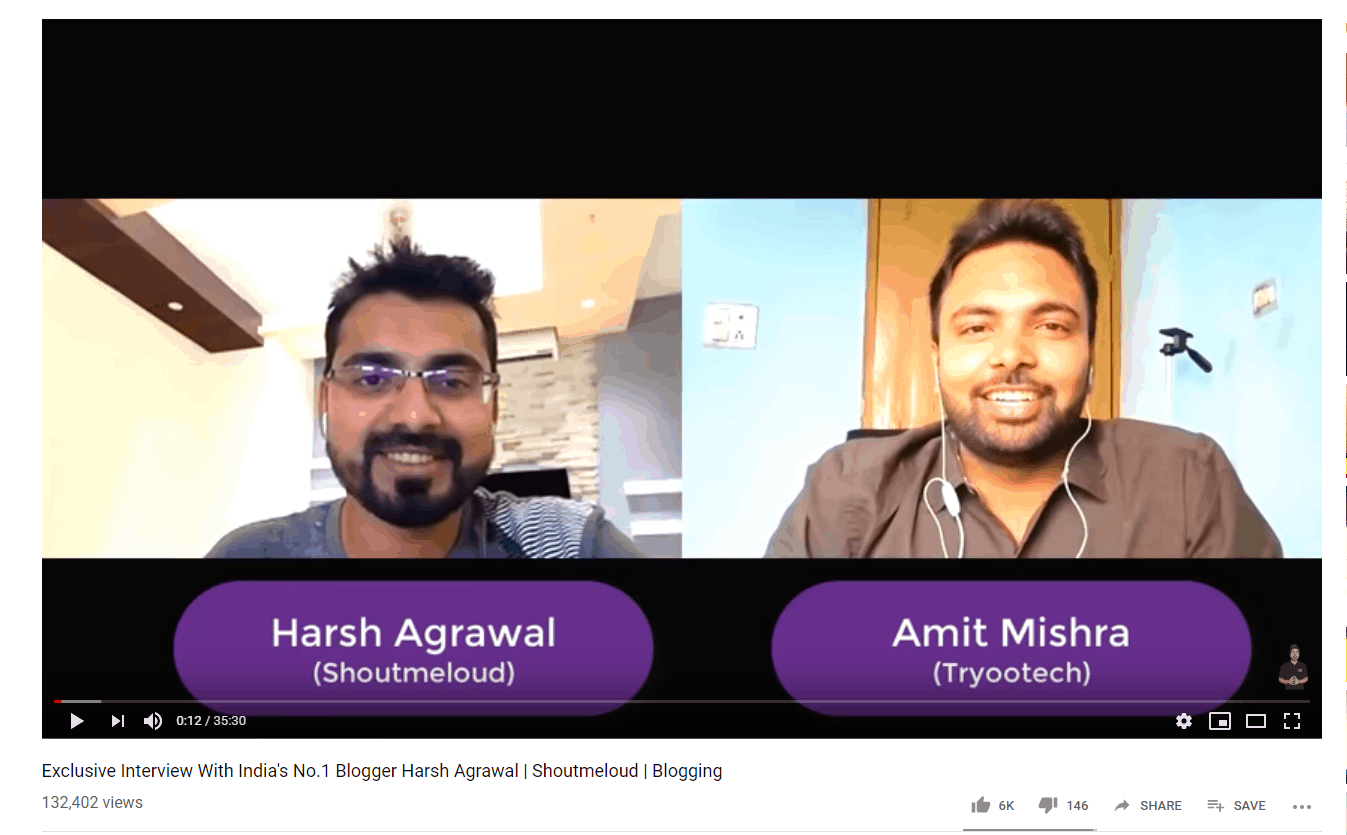 collabration on youtube with harsh agrawal shoutmeloud amit mishra