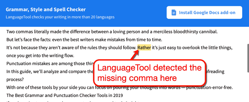 language tool punctuation checker