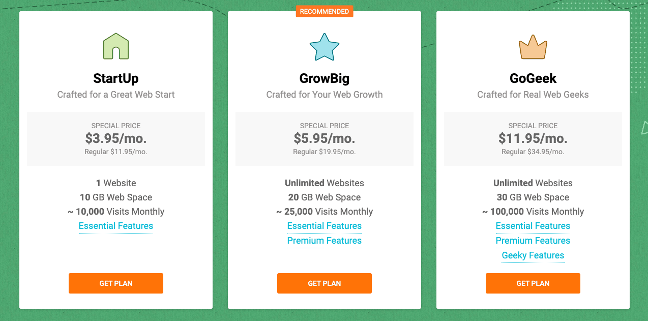Siteground hosting plans