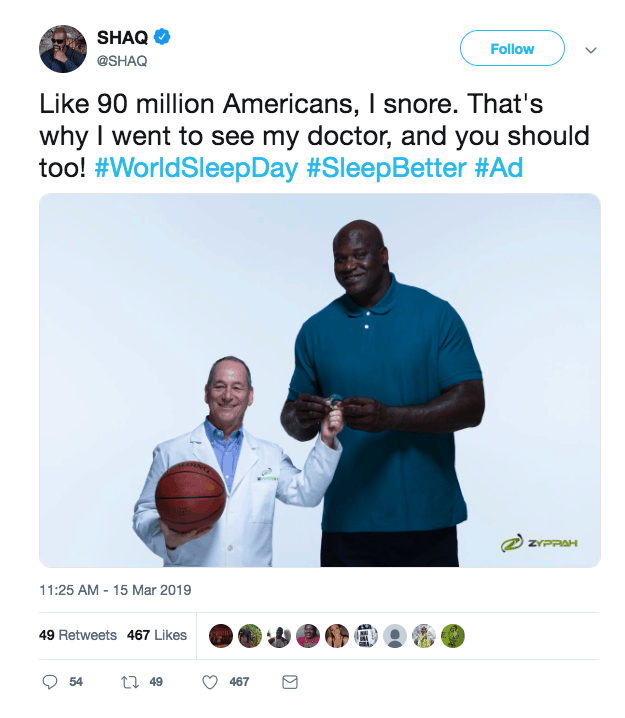 SHAQ twitter ad example