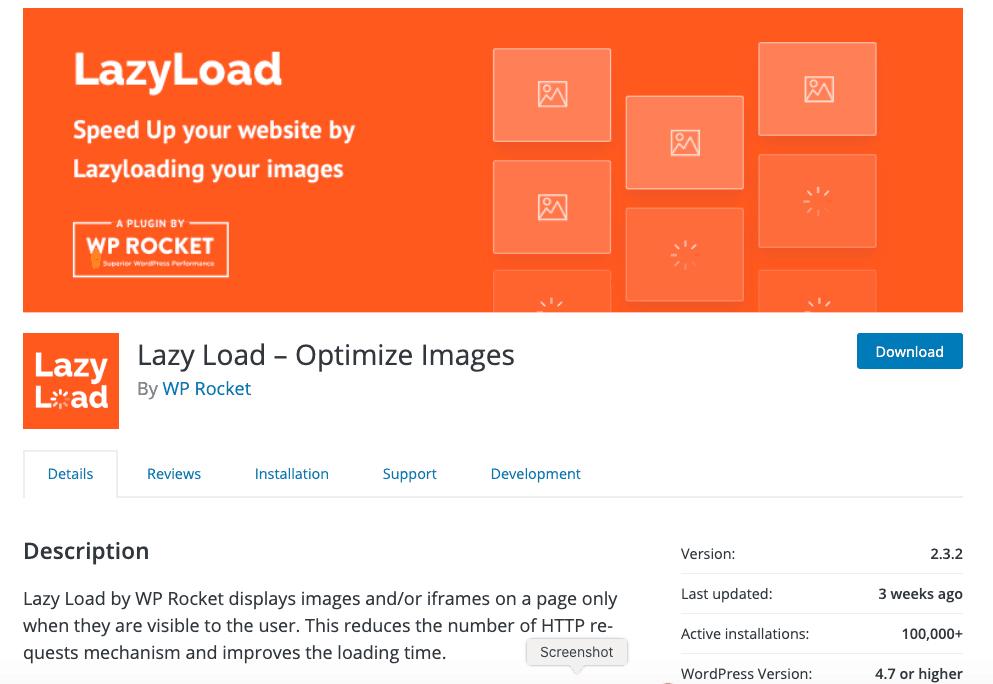 LazyLoad wordpress plugin