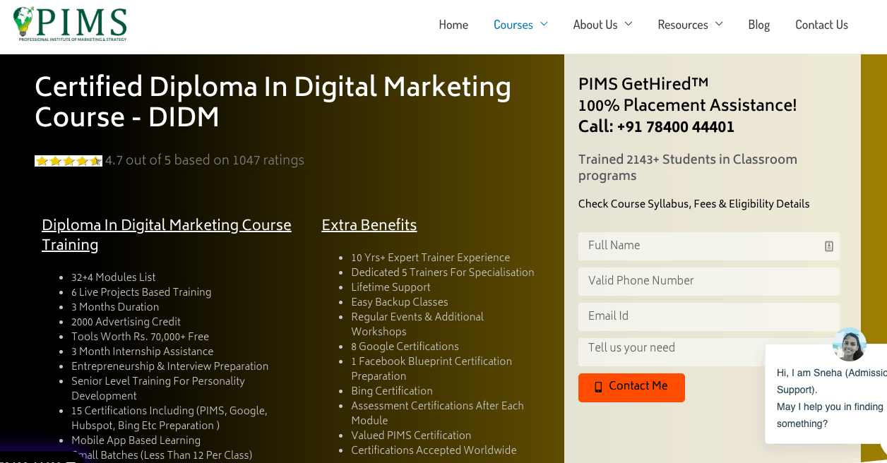 PIMS Digital Marketing Institute Noida