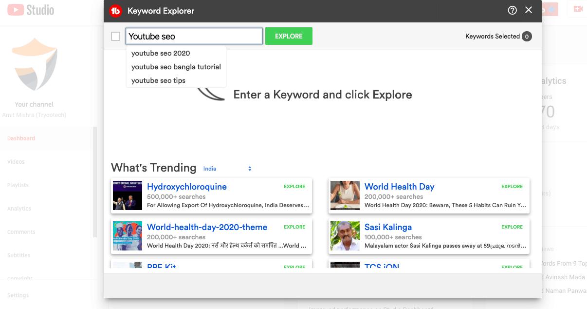 Tubebuddy Keyword Explorer