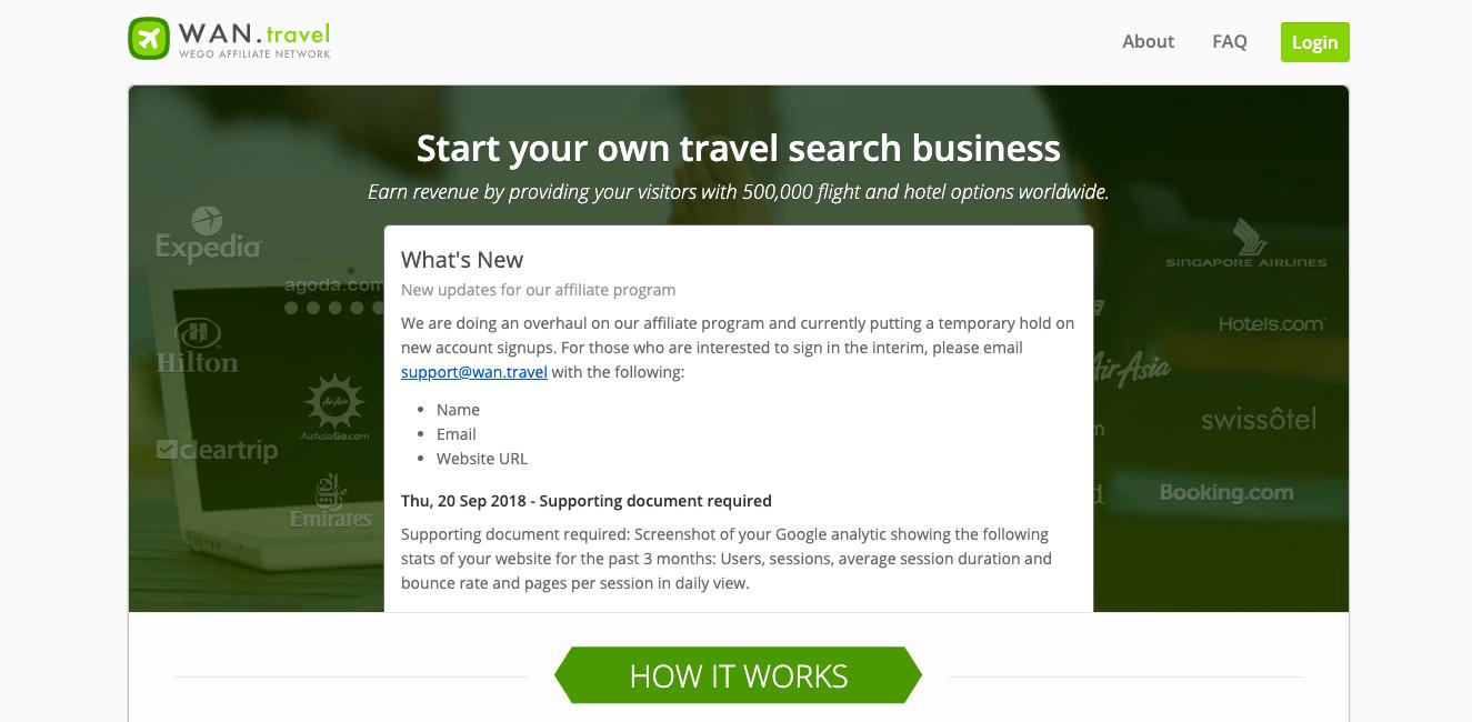 WEGO travel affiliate program