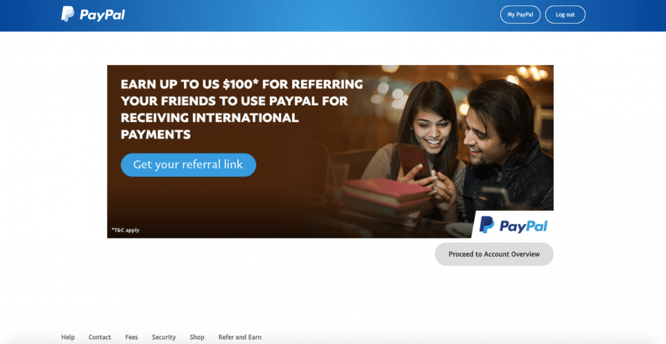 steps of generating paypal referral link