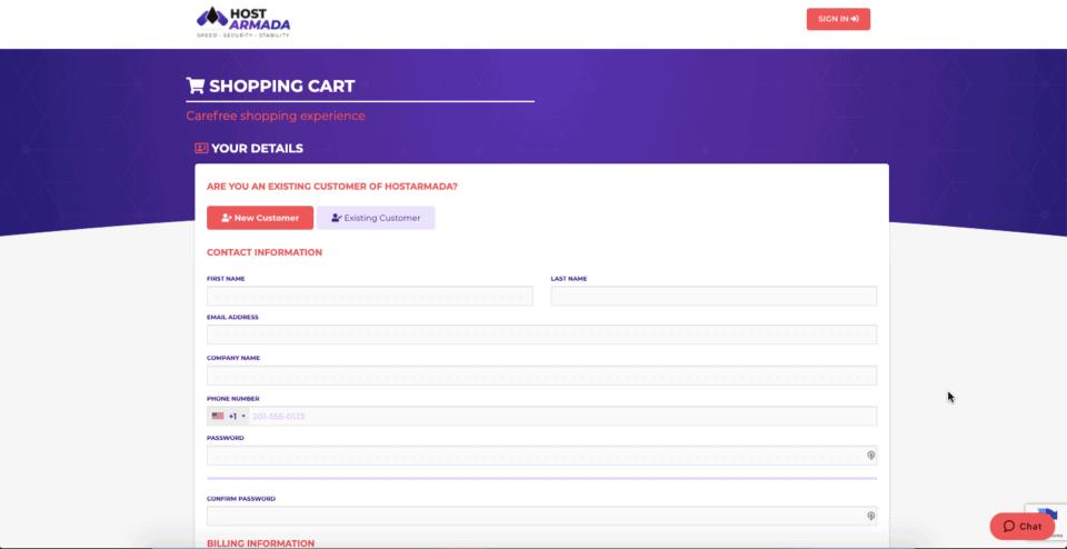 Signup process of hostarmada hosting