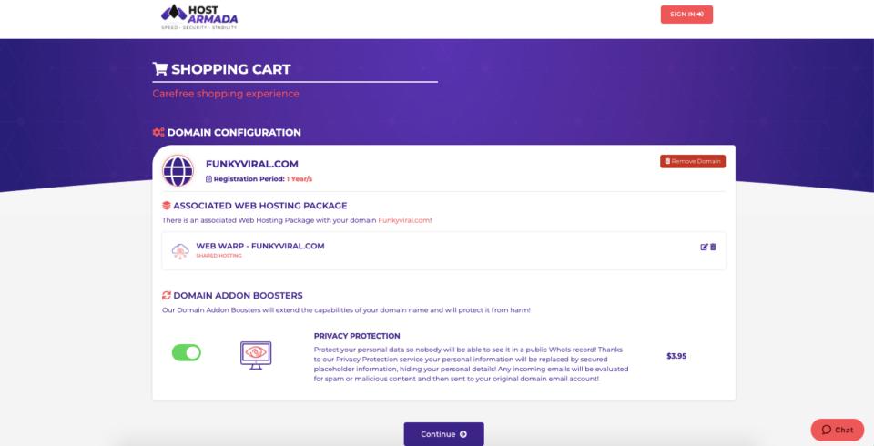 order preview on hostarmada hosting