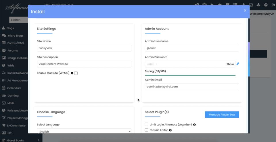 setting username and password in wordpress.